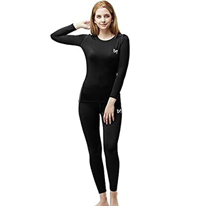 MEETYOO Women's Thermal Underwear Set, Ultra Soft Base Layer for Ladies, Fleece Lined Long Johns Sport Top&Leggings Set for Running Skiing Cycling Workout 9