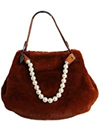 14e835324e Alex Max Borsa in eco pelliccia marrone e rifiniture in perle