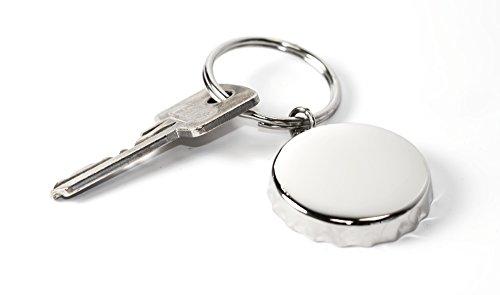 personalisierbar chrom Bier Top Flaschenöffner Schlüsselring/Schlüsselanhänger–Kann Graviert werden (Gravierte Deckel)