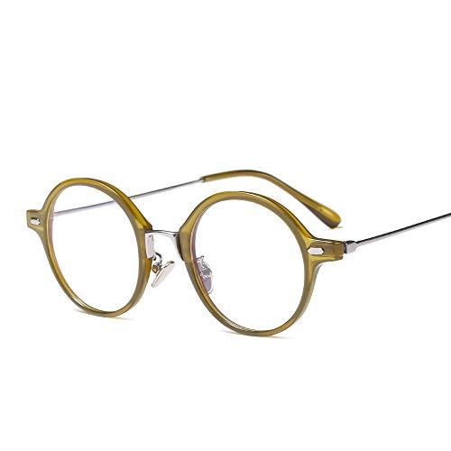 Shengjuanfeng-brillen Einfache Persönlichkeit runde Flache Brille mit klarer Linse, Vintage Geek Eyelasses Männer und Frauen Accessoires (Farbe : Grün)