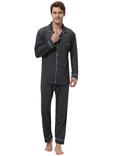 2 Button-up-shirt (Aibrou Herren Baumwolle Pyjama Set, Einfarbiger Zweiteiliger Schlafanzug Langarm Shirt und Pyjamahose Dunkelgrau XXL)