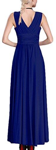 Mochoose Robe de Soirée Cocktail Party cérémonie Grande Taille Maxi Longue Col V Sans Manches Unie pour Femme Bleu Marine