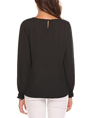 Meaneor Damen Bluse Chiffon Langarm Beiläufige Oberteil T-Shirt mit Spitze Schwarz