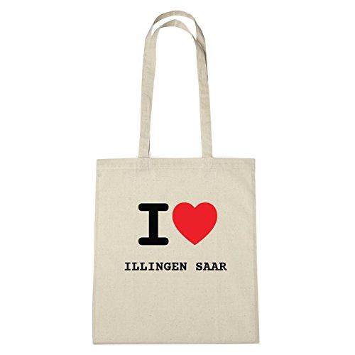 JOllify Illingen Saar di cotone felpato B1744 schwarz: New York, London, Paris, Tokyo natur: I love - Ich liebe