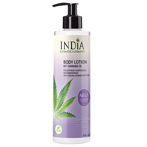 India\'s neue Bodylotion mit Cannabis Öl Premiumqualität in 400ml XXL Größe ohne Parabene. Antiaging, Antifaltencreme. Perfekte Hautpflege.