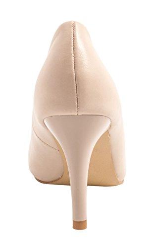 Elara Damen Pumps   Stiletto High Heels   Lederoptik Abendschuh Beige (beige)