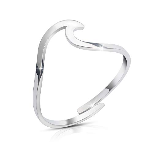 Good.Designs ® Wave Damen Ring in 925 Sterling Silber (verstellbar) Ring mit Welle in silberfarben silberner Ring ringsilber Silver silberring silberschmuck damenring damenschmuck (Alltags-ringe Sterling Silber)