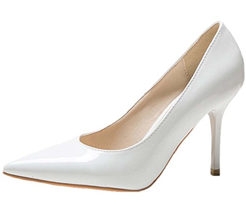 HooH Femmes Pointu Stiletto Escarpins 1485 Blanc-1