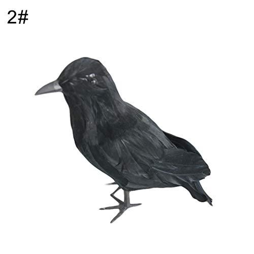 Steellwingsf realistische gefiederte Krähen Raven Modell Halloween Prop Home Garden Yard Dekor - 2
