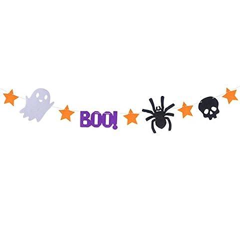Tinksky Happy Halloween Bunting Banner Boo Ghost Skull Spider Halloween Party Décoration Bannières pour la maison Haunt House Ornaments halloween horreur nuit