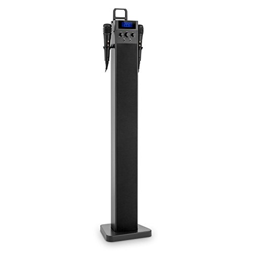 auna HiTower Altavoz torre Karaoke Bluetooth con micrófonos (Sintonizador radio FM, entrada AUX, RCA, ranura recarga USB, 2x Micro, soporte smartphone, monitor LCD, mando distancia, efecto eco, control balance, color negro)