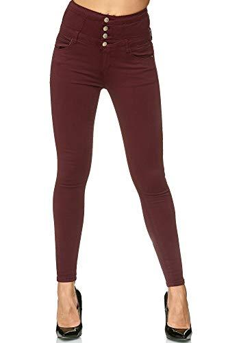 Elara Damen Stretch Hose | High Waist Jeans| Skinny | hoher Bund | Slim Fit | Chunkyrayan H601-52 Wine 44 Skinny Denim Jean Pants