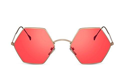 Cheapass Sonnenbrille Groß Gold-en Rot-e Linsen Hexagon Eckig-er Rahmen UV-400 Metall-Rahmen Damen Frauen