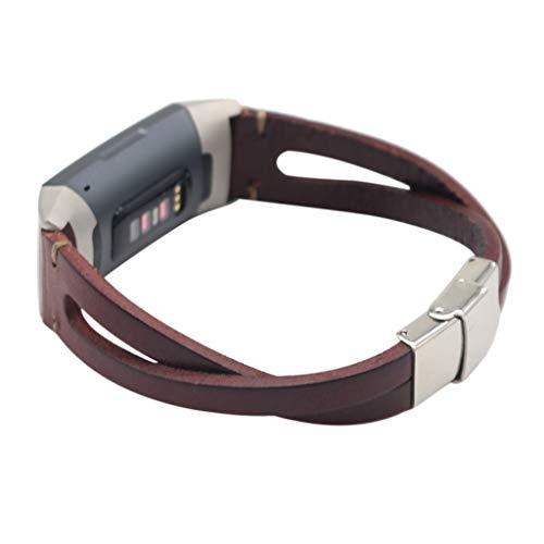 7Lucky Uhrenarmband Leder, Retro Armbänder, Ersatzband Smart Armbanduhr Gurt Handgelenk Armband Kompatibel für Fitbit Charge 3 (Wine) - Faltschließe Fitbit-armband