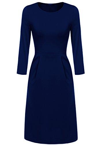 Zeagoo Damen Casual Kleid Etuikleid Langarmkleid A-Linie Kleid (EU 40(Herstellergröße:L), Dunkelblau)