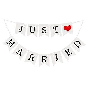 MEJOSER Just Married Wimpelgirlande Wimpelkette Fahnengirlande mit Seil,Hochzeitsgirlande Dekoration für Hochzeit Fest Partei Brautdusche Junggesellinnenabschied oder Foto Photo Booth Fotografie