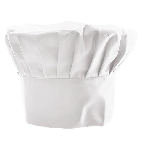 Toque de Cuisinier Adulte Chapeau de Costume Elastique Chef Boulanger - Blanc, Taille unqiue