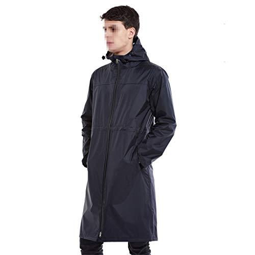 XIAOL Home Poncho-Langer Abschnitt von den Männern und von Frauen, die draußen Taille wasserdichter Reißverschluss-Abschnitt wandern (Color : Navy Blue) Navy Blue Raincoat