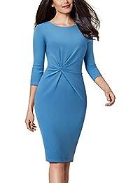 98148fc3aefc5 HOMEYEE Elegante Vestito da Donna 3 4 Maniche Increspato Girocollo Lavoro  B476