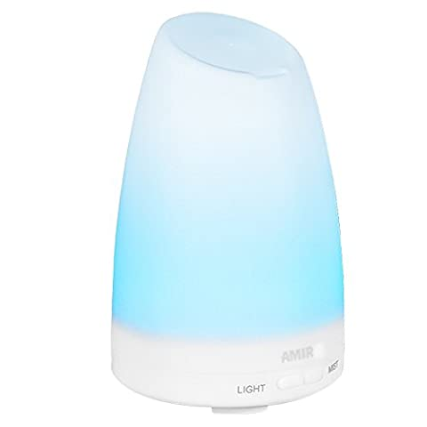 AMIR 150ml Ultrasonic Aroma Diffuser with 7 Colorful LED Lights, Aromatherapy Essential Oil Diffuser, Cool Mist Humidifiers and Waterless Automatically Shut-off, for Home, Yoga, Office, Spa, Bedroom, Baby Room
