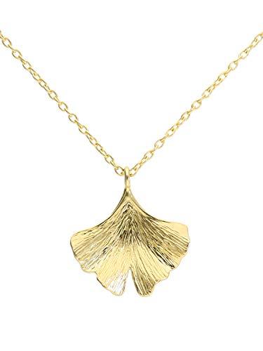 MyGold Ginko Blatt Halskette Kette Collier Gelbgold 375 Gold (9 Karat) Ohne Stein Glanz Länge 45cm Ginkoblatt Geschenke Für Frauen Geschenkideen Trend Blogger Ginko K-01090-G601-AK10-F45cm