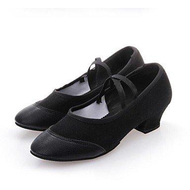 Women's Dance Schuhe moderne Leder/Canvas flachem Absatz Schwarz/Rot, Schwarz, US 9.5-10/EU 41/ UK 7,5-8/CN 42