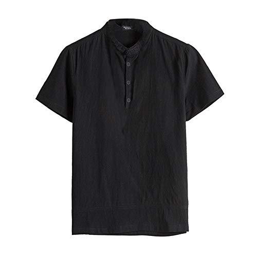 Lino e cotone manica corta maglietta landfox tinta unita cotone t-shirt maglietta uomo camicia uomo classica in cotone con bottoni a tinta unita. camicia in lino manica corta uomo estate casual top