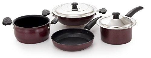 Mahavir Enterprises Stainless Steel Non Stick Induction Cookware Set, 210 mm, 6 Piece 6KFSHNSDT