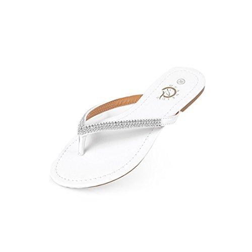 Ganzen Schuhe Flache Frauen (Supshark--Frauen Flache Strass Slipper PU Große Größe Casual Sommer Sandalen (36 EU, Weiß))
