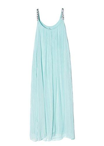 Cherry Paris - Nouveautés - Robe Longue Femme ORIANA Mousseline de Soie Couleur unie, Bretelles Fines à Sequins Brillant Vert