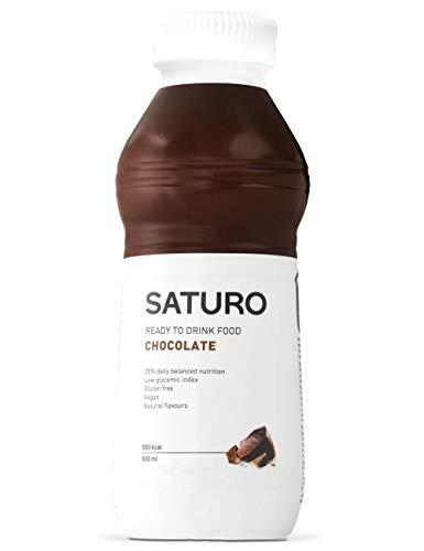 Mahlzeitenersatz Saturo - Astronautenkost mit Protein, Allen 27 Vitaminen und Mineralstoffen, Nahrungsersatz zum Abnehmen, Schokolade, 12 x 500 ml