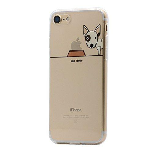 iPhone 7 Hülle, Keyihan Niedlich Haustier Hunde und Seine Näpfe Muster Ultra Dünn Schlank Leicht Durchsichtig klare Transparent Weiche TPU Silikon Handy Schutzhülle für Apple iPhone 7 (Bull Terrier) (Terrier Hund-schüssel)