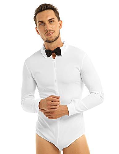 Tanz Chicago Kostüm - YiZYiF Chicago Herren Standard Latein Training Turnier Body Hemd Langarm mit Fliege in Schwarz und Weiß Weiß XX-Large