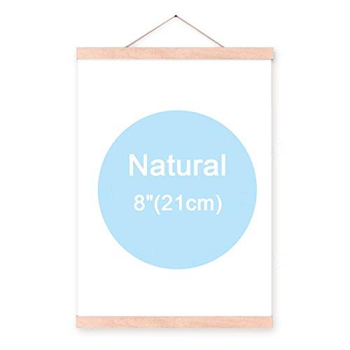 pomcat 20,3cm Natural Holz magnetische Rahmen Poster Kunstdruck Artwork Leinwand Aufhängen Quilt Clip Aufhänger, natur (Aufhänger Quilt)