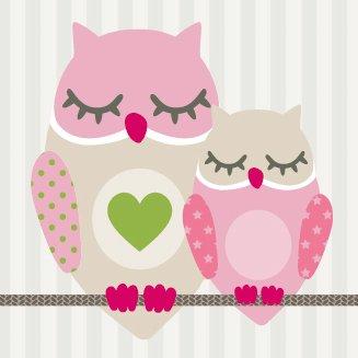 anna wand Bordüre selbstklebend SUMMER OWLS GIRLS - Wandbordüre Kinderzimmer / Babyzimmer mit Eulen in Rosa-Taupe - Wandtattoo Schlafzimmer...