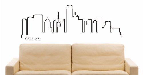 INDIGOS UG - Wandtattoo Wandsticker Wandaufkleber Aufkleber - Wandaufkleber e649 Skyline Stadt - Caracas (Venezuela) Design 4-180x62 cm - schwarz - Dekoration Küche Bad Büro Hotel -
