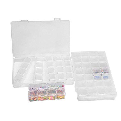 28 Raster Jewelry Bead Trennwände klar Container, 2 Pack Diamant Stickerei Box Organizer mit Deckel abnehmbarer verstellbarer Make-Transparent Kunststoff Fall Aufbewahrungsbox für Saatgut -