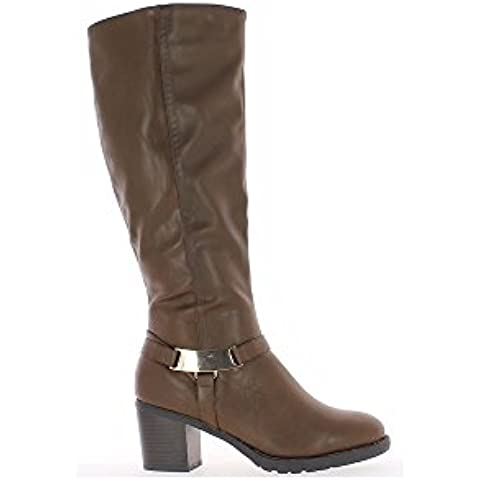 Stivali donna castagna raddoppiata a tacco 6,5 cm