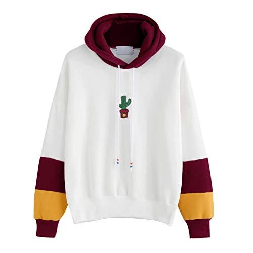 YWLINK 2018 Damen Womens Long Sleeve Contrast Color Cactus Print Hoodie Sweatshirt Hooded Pullover Tops Blouse (L, Wein)