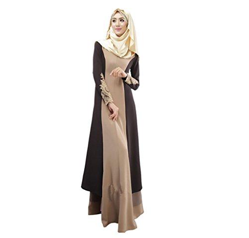 Dreamskull Muslim Abaya Dubai Muslimisch Islamisch Arabisch Indien Türkisch Casual Abendkleid Kaftan Kleid Maxikleid Damen Frauen(XL, 01braun)