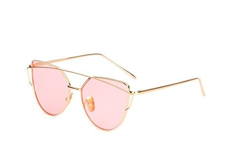 Unisex Sonnenbrille Katzenauge Moderne Brille in verschiedene Farbe (A Gold Pink)