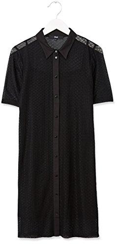 FIND Robe Chemise Dentelle au Crochet Femme Noir (Black)