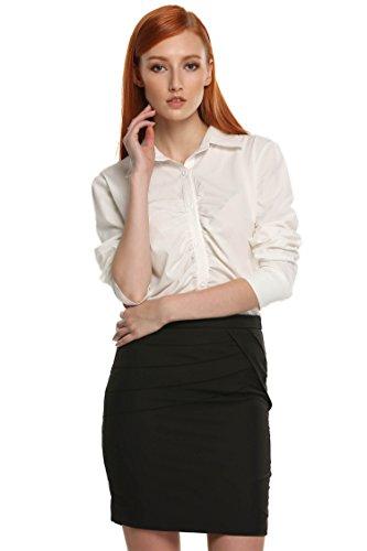 Zeagoo Chemise Femme Décoratif en Dentelle Manches Longues Mince poignet Casual en mousseline de soie Nouveauté 2017 (B)blanc