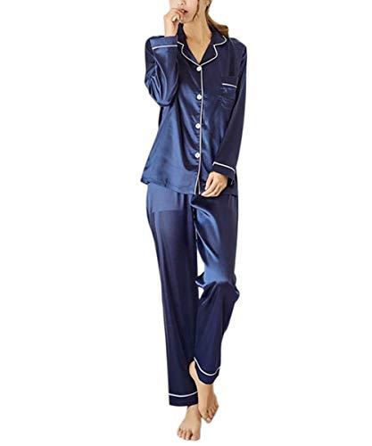 Pyjama Schlafanzug Damen Lang Satin Klassische Sleepwear V-Ausschnitt Zweiteiliges Blau L