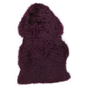 véritable Grand tapis en peau de mouton Indigo soie prune