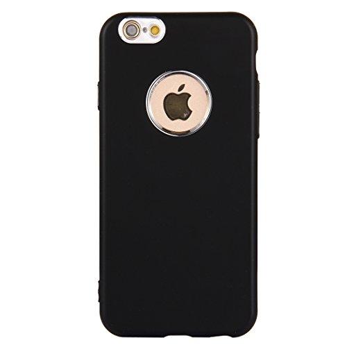 MXNET Fall für iPhone 6 u. 6s reiner Farben-Öl-Auslauf-weicher TPU Metallknopf-schützender Fall-rückseitige Abdeckung ,Iphone 6/6s Case ( Color : Rose gold ) Black