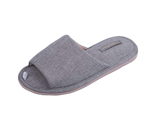 TWINS Fashion « Rimini » leichte Design Damen-Hausschuhe I Latschen I Schlappen I Pantoffeln I Slippers - 100% Baumwolle rutschfest - Diverse Farben (36/37, Grau)