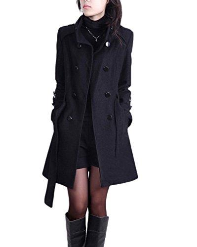 YOUJIA Damen Stehkragen Trenchcoat mit Gürtel Wollmantel Länge Zweireihige Winterjacken Parka (Schwarz, CN L)