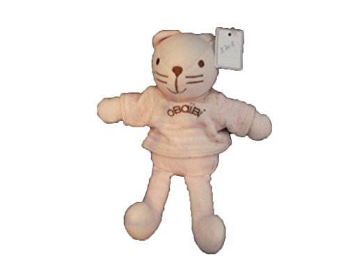 forme élégante conception adroite images officielles obaibi/Okaidi - Doudou Okaidi obaibi gato rosa Pull rayas blanco PM 20 cm -  2708