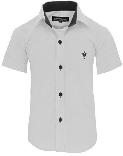 GILLSONZ A70vDa Kinder Party Hemd Freizeit Hemd bügelleicht Kurz ARM 7 Farben Gr.86-158 (98/104, Weiß)